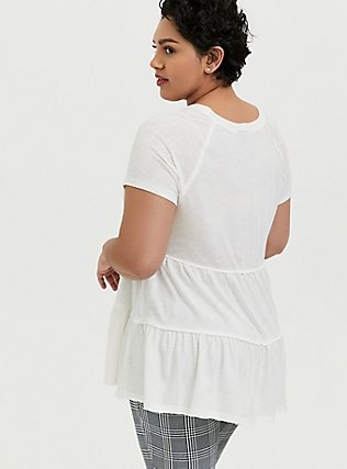 White Shirred Babydoll Top, CLOUD DANCER, alternate