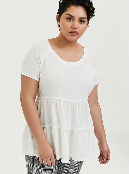 White Shirred Babydoll Top, CLOUD DANCER, hi-res