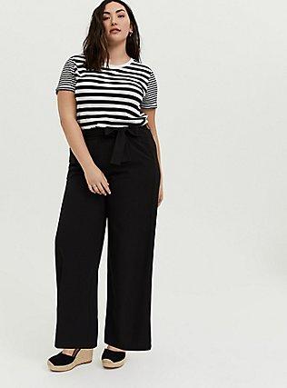 Plus Size White & Black Stripe Relaxed Fit Crew Tee, STRIPES, alternate