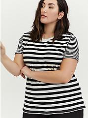 Plus Size Relaxed Fit Crew Tee - Stripe White & Black, STRIPES, alternate