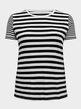 Plus Size White & Black Stripe Relaxed Fit Crew Tee, STRIPES, flat