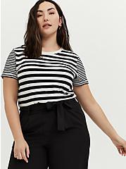 Plus Size Relaxed Fit Crew Tee - Stripe White & Black, STRIPES, hi-res