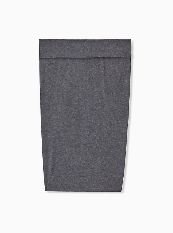 Plus Size Charcoal Grey Jersey Foldover Midi Skirt , , hi-res