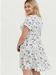 Light Stone Grey Floral Button Skater Dress, FLORALS-GREY, alternate