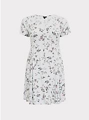 Light Stone Grey Floral Button Skater Dress, FLORALS-GREY, hi-res
