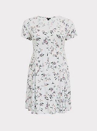 Light Stone Grey Floral Button Skater Dress, FLORALS-GREY, flat