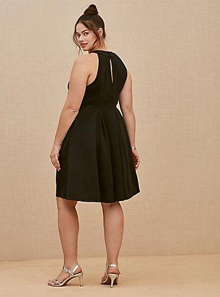 Black Scuba Knit Mini Fluted Dress, DEEP BLACK, alternate