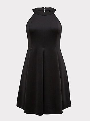 Black Scuba Knit Mini Fluted Dress, DEEP BLACK, flat