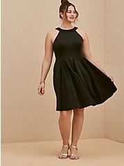 Black Scuba Knit Mini Fluted Dress, DEEP BLACK, hi-res
