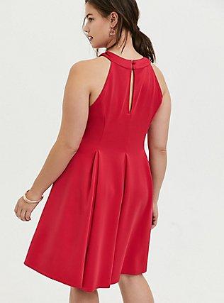 Fuchsia Pink Scuba Pleated Mini Fluted Dress, PINK PASSION, alternate