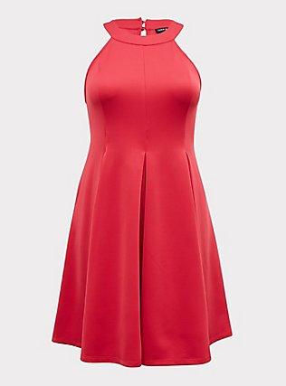 Fuchsia Pink Scuba Pleated Mini Fluted Dress, PINK PASSION, flat