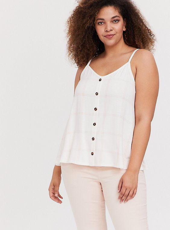 Super Soft White & Light Pink Plaid Button Swing Cami, , hi-res