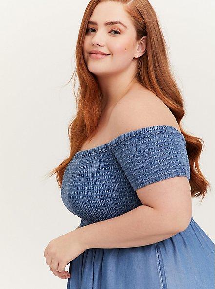 Plus Size Blue Chambray Off Shoulder Smocked Skater Dress, CHAMBRAY, alternate