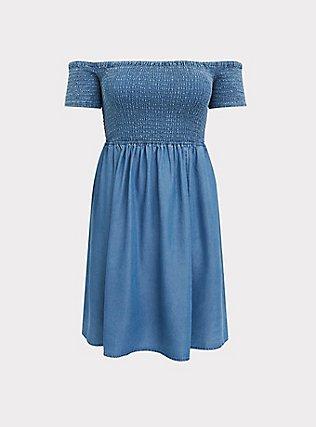 Plus Size Blue Chambray Off Shoulder Smocked Skater Dress, CHAMBRAY, flat