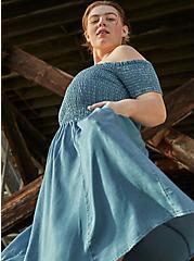 Blue Chambray Off Shoulder Smocked Skater Dress, CHAMBRAY, hi-res