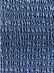 Blue Chambray Off Shoulder Smocked Skater Dress, , fitModel1-alternate