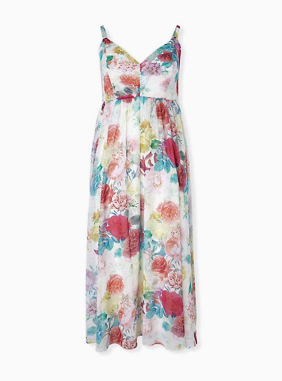 Ivory Floral Chiffon Maxi Dress, , hi-res
