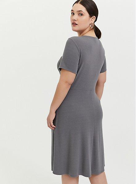Plus Size Grey Rib Twist Front Skater Dress, SMOKED PEARL, alternate