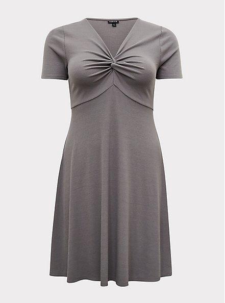 Plus Size Grey Rib Twist Front Skater Dress, SMOKED PEARL, hi-res