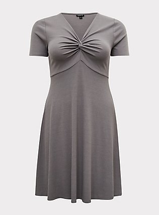 Plus Size Grey Rib Twist Front Skater Dress, SMOKED PEARL, flat