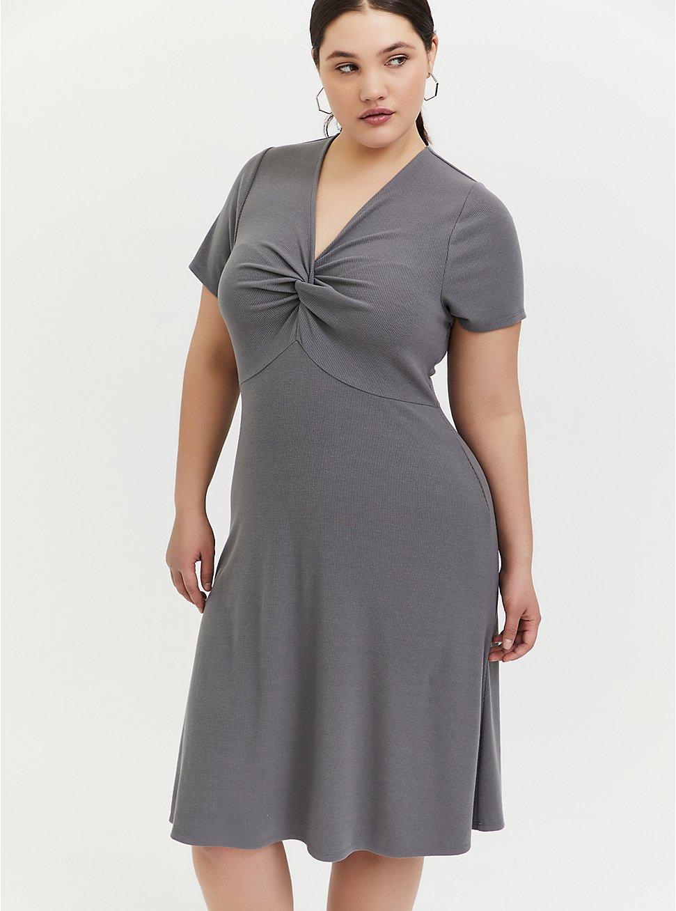 Grey Rib Twist Front Skater Dress, SMOKED PEARL, hi-res