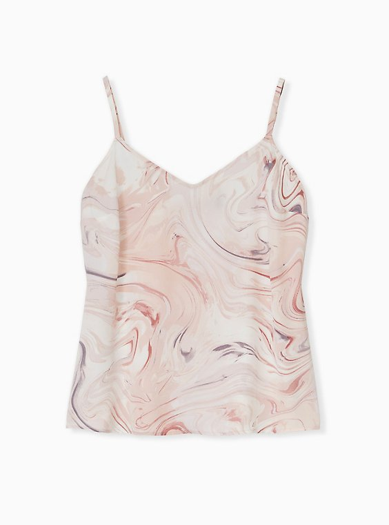 Sophie - Light Pink Marble Charmeuse Swing Cami, , hi-res
