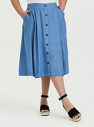 Blue Chambray Button Midi Skirt, CHAMBRAY, hi-res