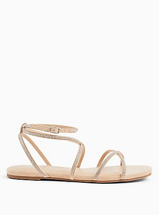 Plus Size Nude Rhinestone Strappy Gladiator Sandal (WW), NUDE, alternate