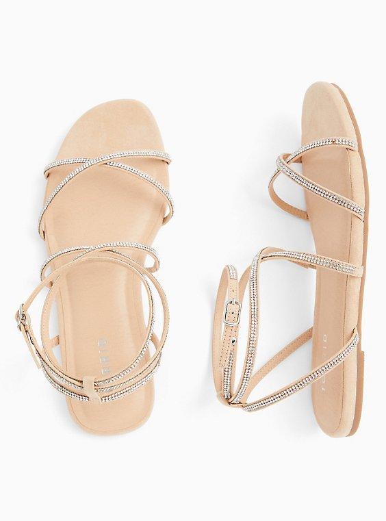 Plus Size Nude Rhinestone Strappy Gladiator Sandal (WW), , hi-res
