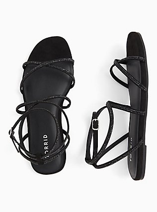 Black Rhinestone Strappy Gladiator Sandal (WW), BLACK, alternate
