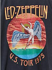 Led Zeppelin Black Washed Cold Shoulder Tee, DEEP BLACK, alternate