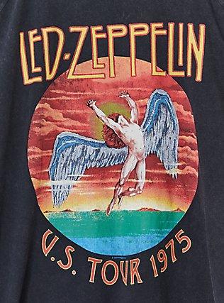 Led Zeppelin Black Washed Cold Shoulder Tee, DEEP BLACK, alternate