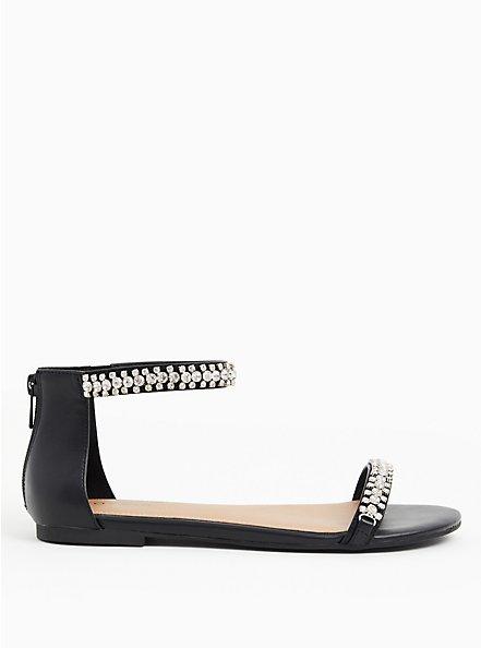 Black Faux Leather Rhinestone Ankle Strap Sandal (WW), BLACK, alternate