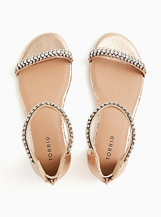 Rose Gold Faux Leather Rhinestone Ankle Strap Sandal (WW), ROSE GOLD, alternate