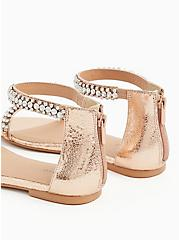 Plus Size Rose Gold Faux Leather Rhinestone Ankle Strap Sandal (WW), ROSE GOLD, alternate