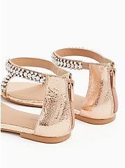 Rose Gold Faux Leather Rhinestone Ankle Strap Sandal (WW), ROSE GOLD, alternate
