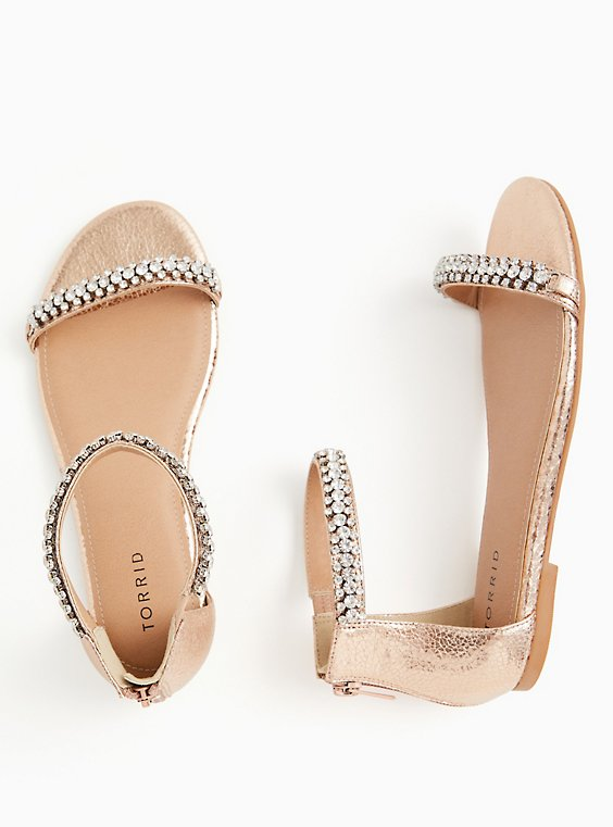 Plus Size Rose Gold Faux Leather Rhinestone Ankle Strap Sandal (WW), , hi-res