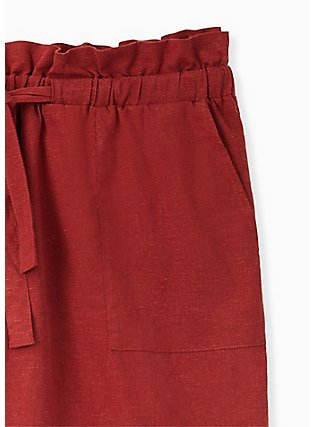 Plus Size Drawstring Paperbag Waist Mid Short - Linen Brick Red , MADDER BROWN, alternate