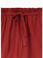 Drawstring Paperbag Waist Mid Short - Linen Brick Red , MADDER BROWN, alternate