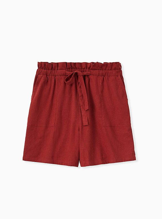 Drawstring Paperbag Waist Mid Short - Linen Brick Red , , hi-res