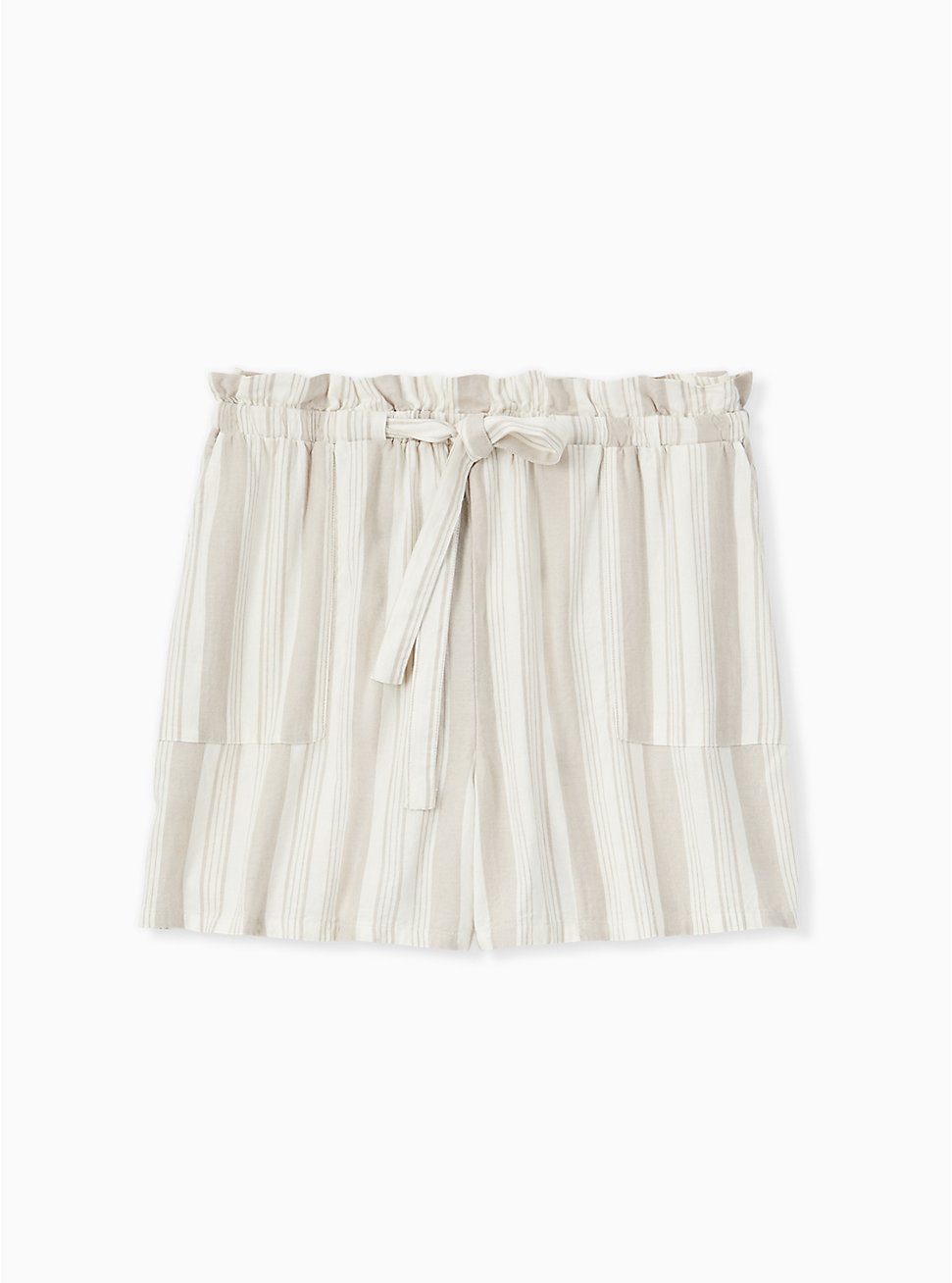 Drawstring Paperbag Waist Mid Short - Linen Stripe Taupe , STRIPES, hi-res
