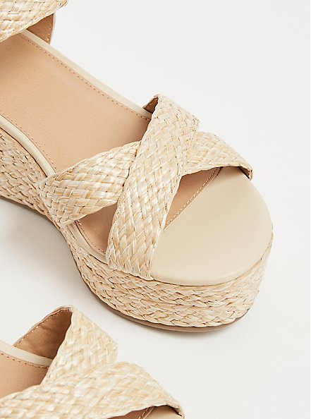 Tan Jute Ankle Strap Platform Wedge (WW), IVORY, alternate