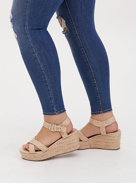 Tan Jute Ankle Strap Platform Wedge (WW), , hi-res
