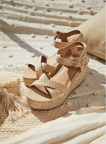 Tan Jute Ankle Strap Platform Wedge (WW), IVORY, hi-res