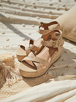 Tan Jute Ankle Strap Platform Wedge (WW), IVORY, pdped