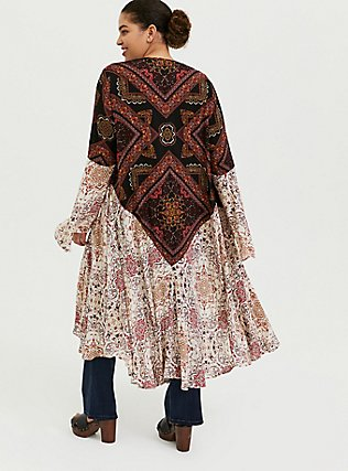 Mixed Media Floral Bell Sleeve Duster Kimono, ANIMAL, alternate