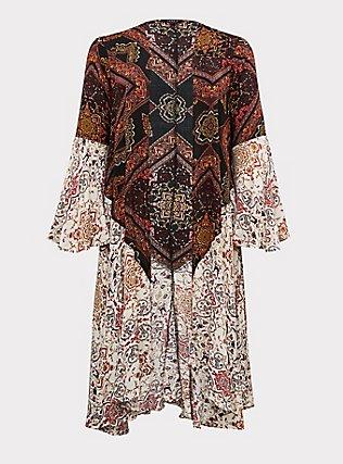Mixed Media Floral Bell Sleeve Duster Kimono, ANIMAL, flat