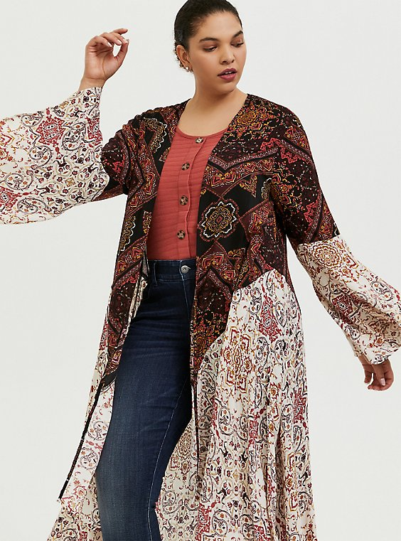 Plus Size Mixed Media Floral Bell Sleeve Duster Kimono, , hi-res