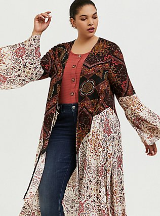 Mixed Media Floral Bell Sleeve Duster Kimono, ANIMAL, hi-res