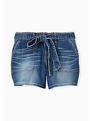 High Rise Mid Short - Vintage Stretch Medium Wash with Sash, SHELBY 68, hi-res